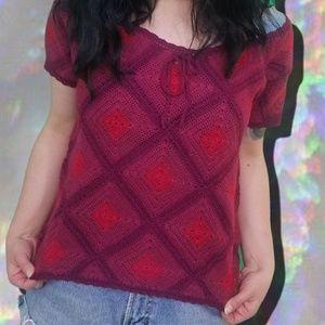 Vintage No Boundaries Crochet Burgandy Tie Up Top